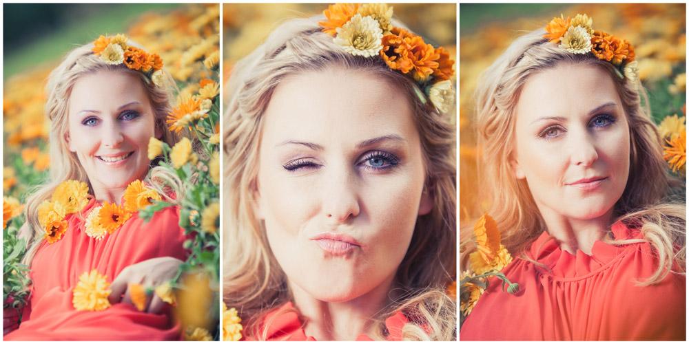 3 Beauty-Portraits einer Frau in gelb-orangen Ringelblumen