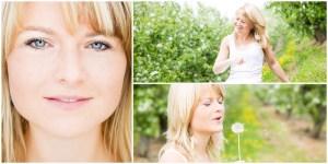 3 natürliche Beauty-Portraits einer Frau im Grünen mit Pusteblume