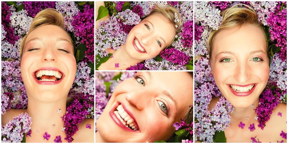 4 Beauty-Portraits einer Frau im lilafarbenen Flieder