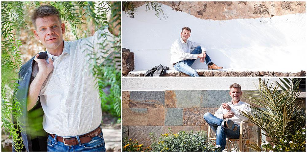 3 natürliche Business-Portraits eines Beraters im mediterranen Stil