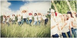 Springende Junggesellinnen und feiernde Junggesellinnen