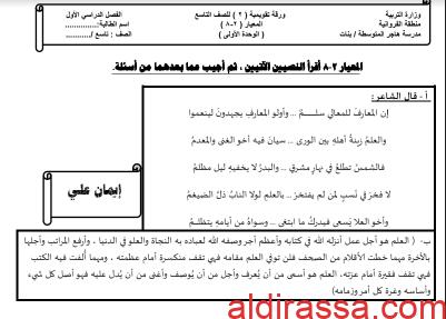 الورقة التقويمية 1 للوحدة الاولى لغة عربية للصف التاسع اعداد ايمان علي الفصل الاول
