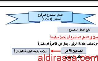 تطبيقات الفعل المضارع المرفوع لغة عربية للصف الخامس الفصل الأول إعداد المعلمة بيلسان