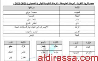 مذكرة الثروة اللغوية الوحدة الاولى للصف التاسع للمعلم صالح أمين