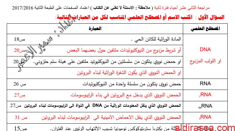 مراجعة أحياء الثاني عشر العملي الفصل الثاني اعداد سمير الاعصر