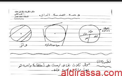 نظريات وقوانين الرياضيات للصف العاشر الفصل الثاني أ. احمد نصار