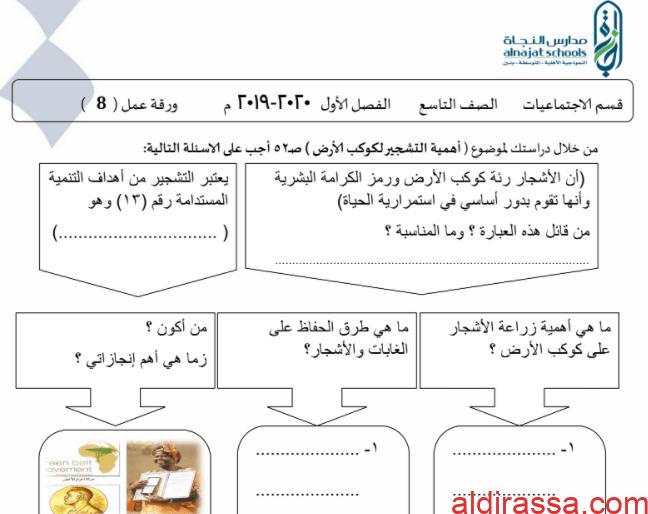 ورقة عمل 6 اجتماعيات تاسع مدرسة النجاة الفصل الاول
