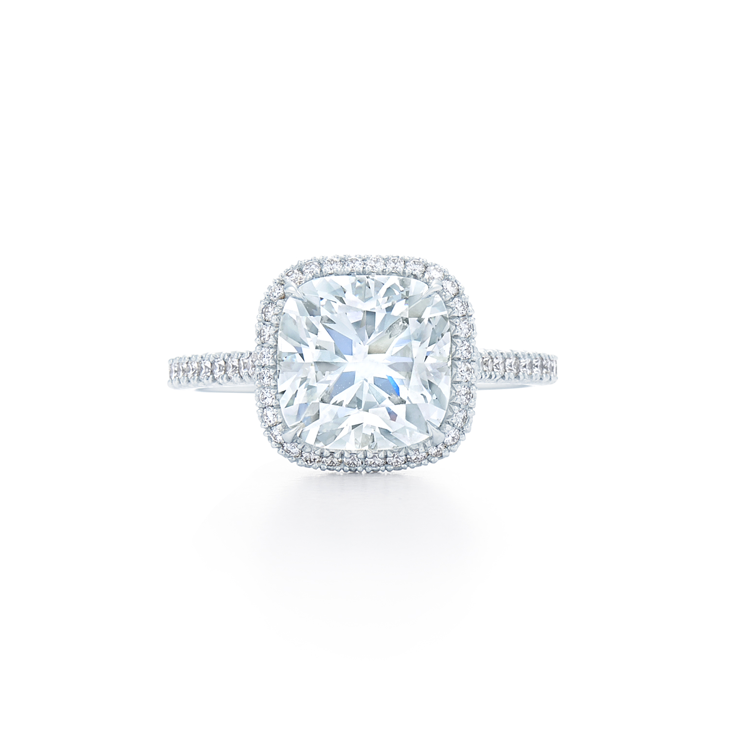 Cushion Diamond Ring In Pave Diamond Halo Set In Platinum