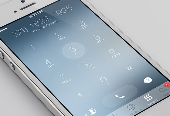 iOS7 Keypad Redesign by Charles Patterson