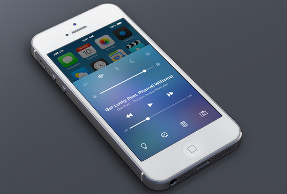 iOS7 Control Center Redesign by Michael Boswell
