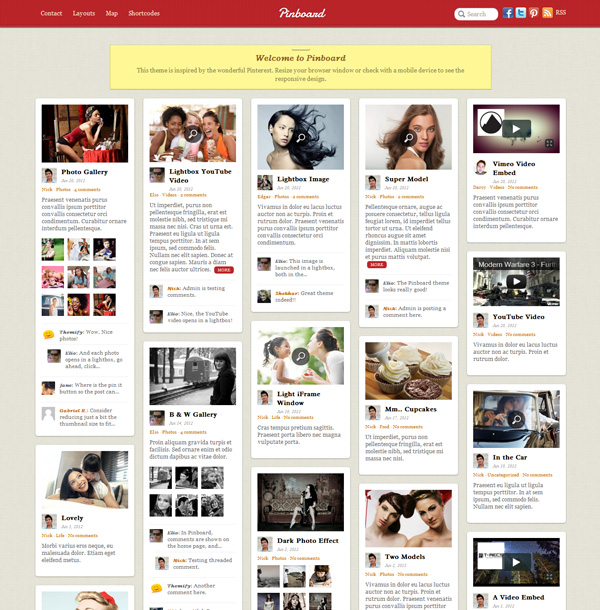 pinboard Best 30 WordPress Themes of June 2012