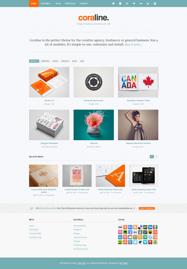 coraline Best 30 WordPress Themes of June 2012