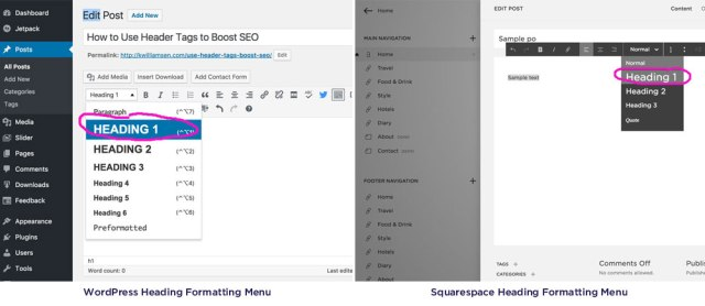 Using heading tags in WordPress and Squarespace correctly