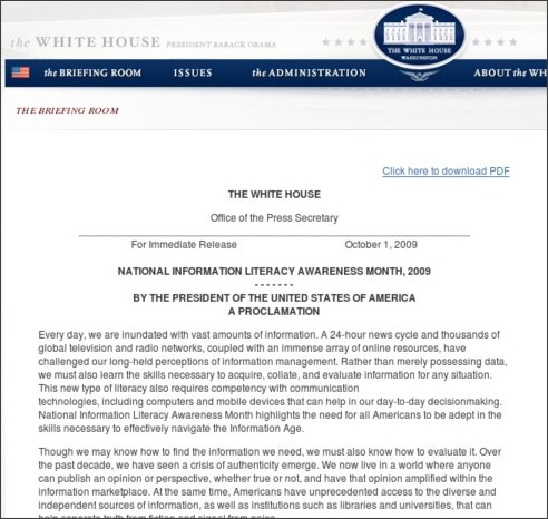http://www.whitehouse.gov/the_press_office/Presidential-Proclamation-National-Information-Literacy-Awareness-Month/