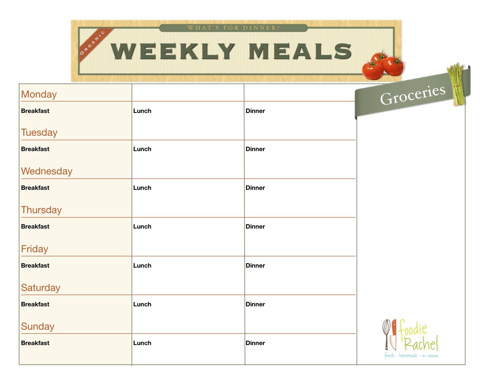 Healthy Eating Worksheet Excel