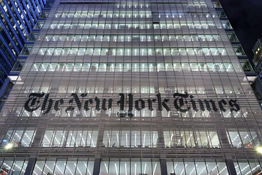 The New York Times building on 8th Avenue.