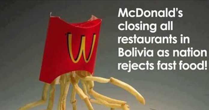Bolivia is the first Latin-American country to close all Mcdonald's Restaurant