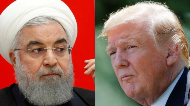 Trump tweets threat at Iran: 'Never threaten the United States again!'