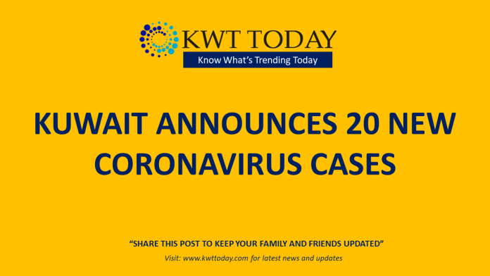 Kuwait announces 20 new coronavirus cases
