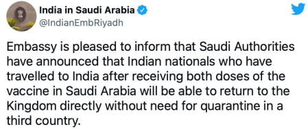 No Quarantine required for fully vaccinated Indians on return to Saudi Arabia