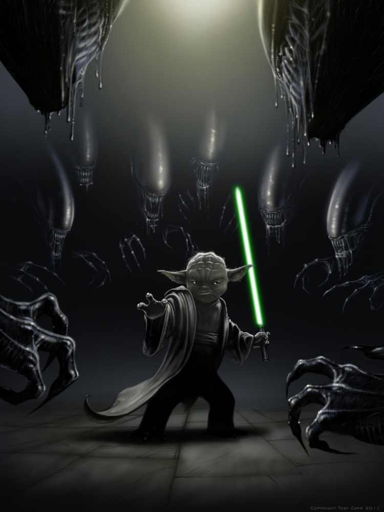 Yoda vs Aliens by Toby Carr