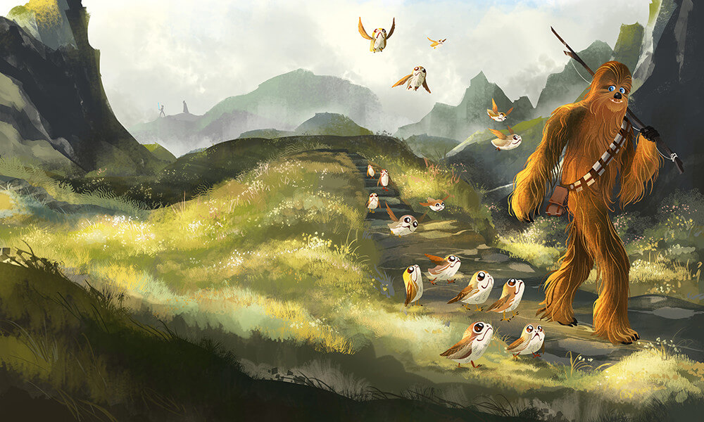 Chewie & The Porgs by Fion Hsieh