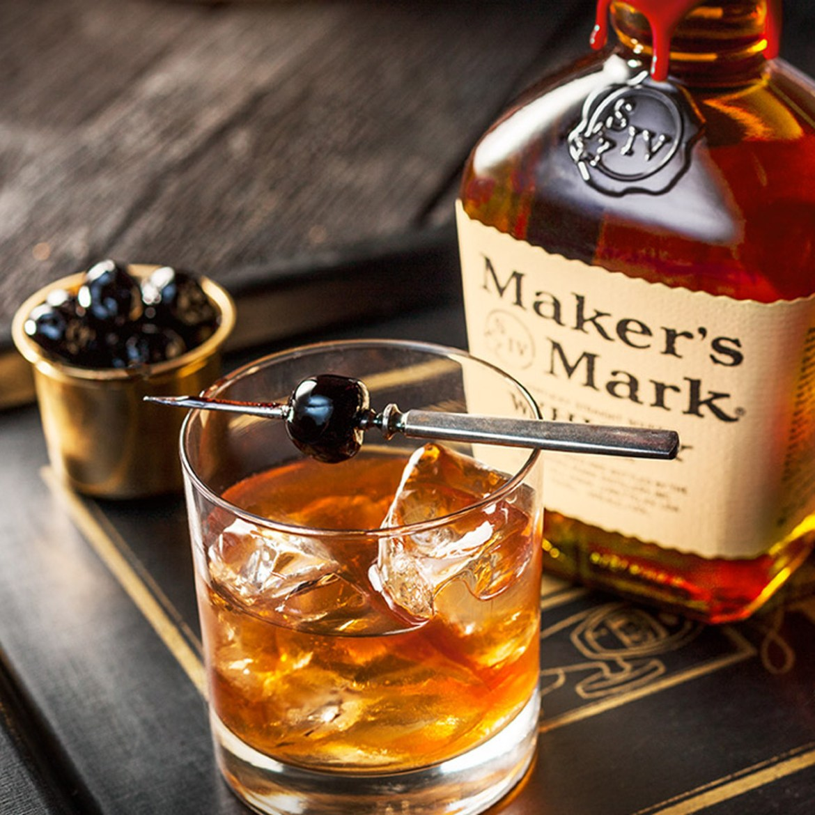 Maker's Mark bottle and glass