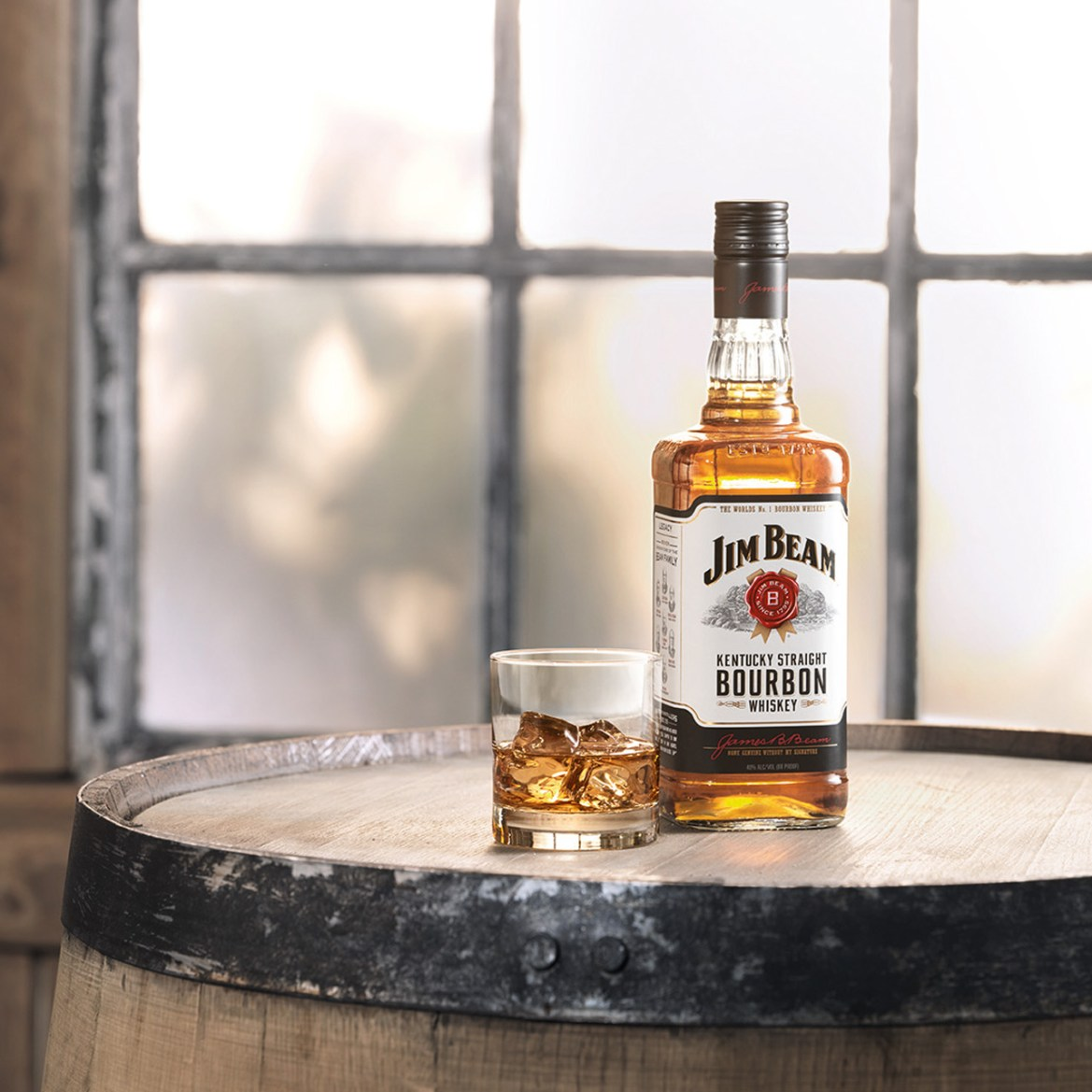 Jim Beam bottle and glass