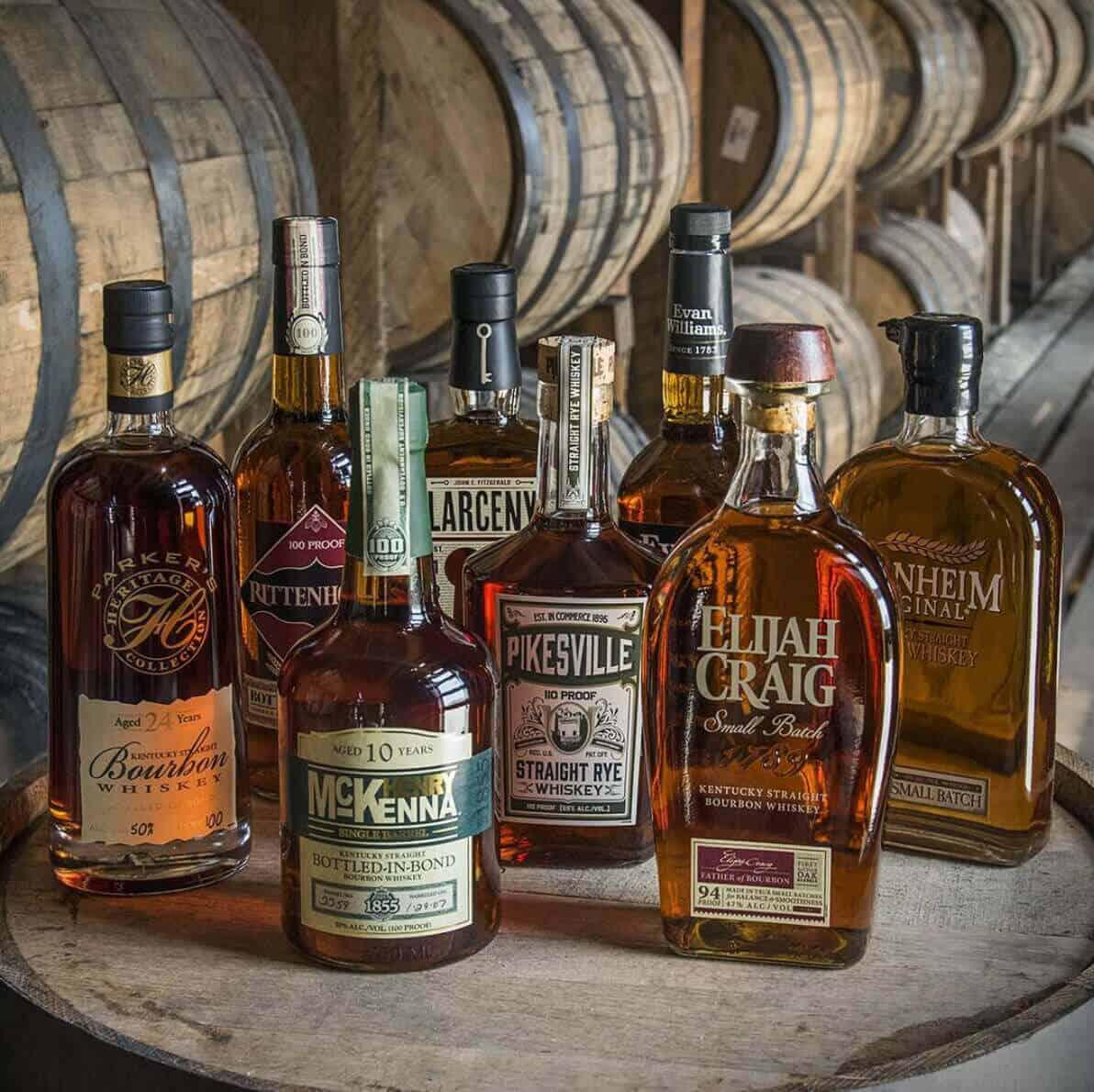 Heaven Hill bourbon bottles