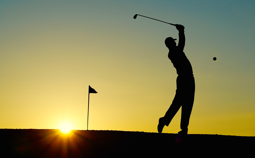 Golf shot silhouette