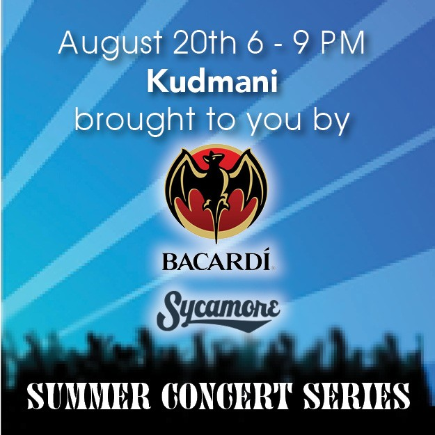 aug 20 - Summer Concert Series: Kudmani sponsored by Bacardi & Sycamore Brewing