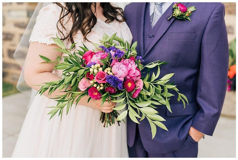Purple Suit Groom Pink Purple Bridal Bouquet