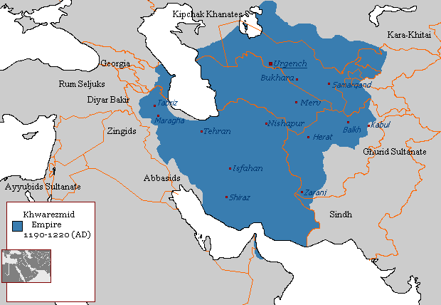 The extent of the Khorazmian Empire, 1190 to 1220, after the Khorazmshah conquered the Great Seljuk Empire centred in Isfahan.