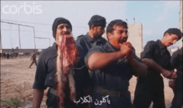 A video of Fedayeen shown on State TV in the Saddam years, eating a live wolf