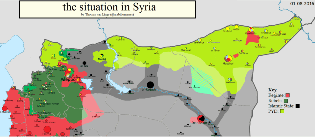 Situation map of northern Syria, 1 August 2016, by Thomas van Linge