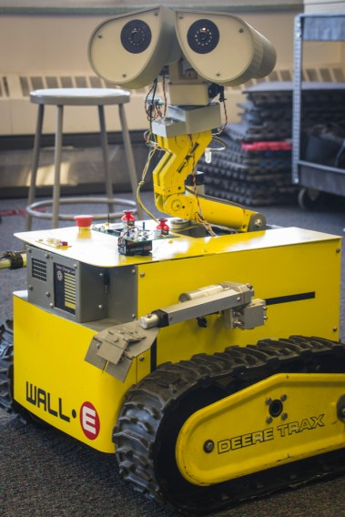 This Wall-e robot was built at the ISU College of Technology Robotics Lab. It can drive around, talk, use its hands, and articulate head and eyes.