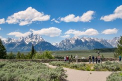 This is our group at the very spot where Ansel Adams photographed the Tetons and the Snake River