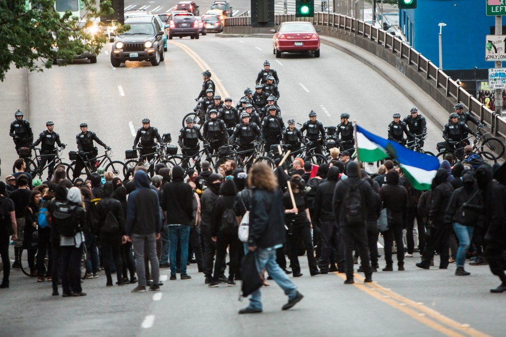 police keep march from heading downtown