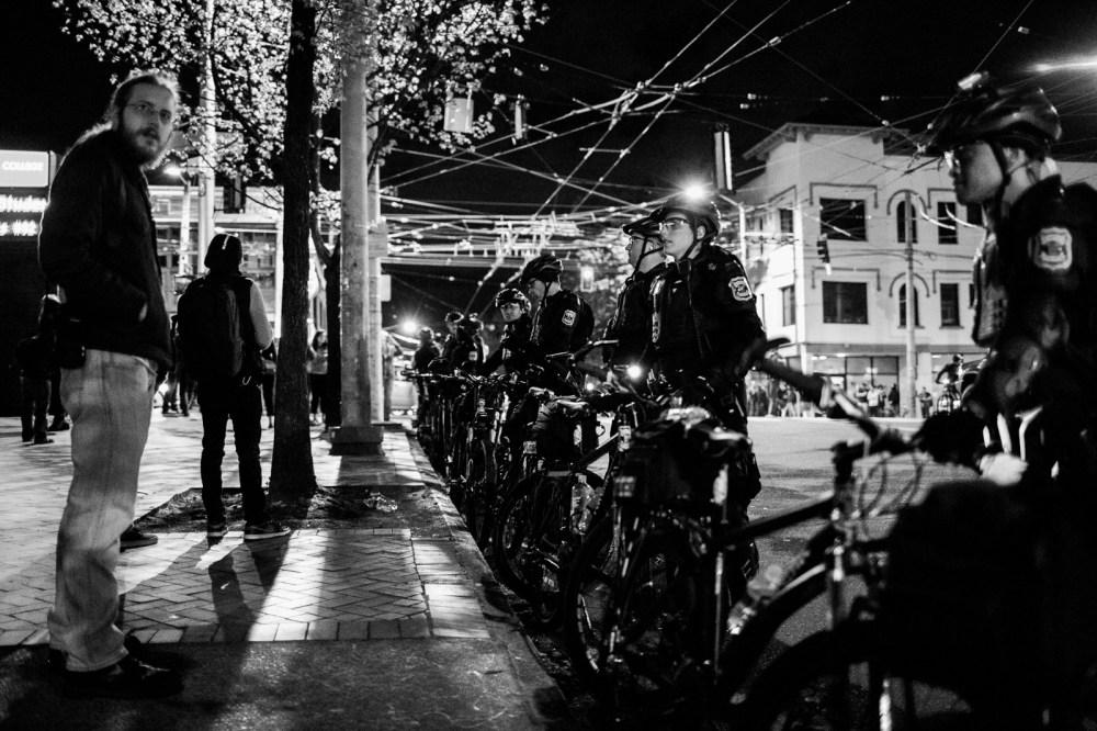 Bike cop police line