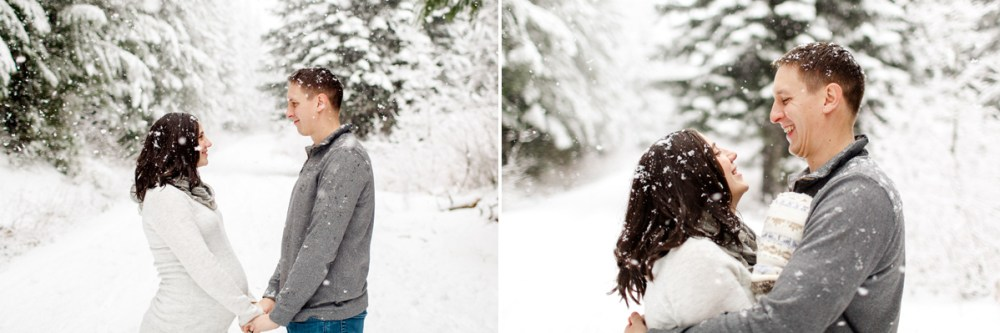 snow maternity embracing