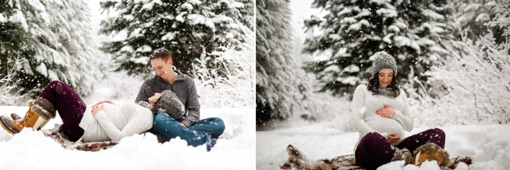 couple sitting on blanket in the snow