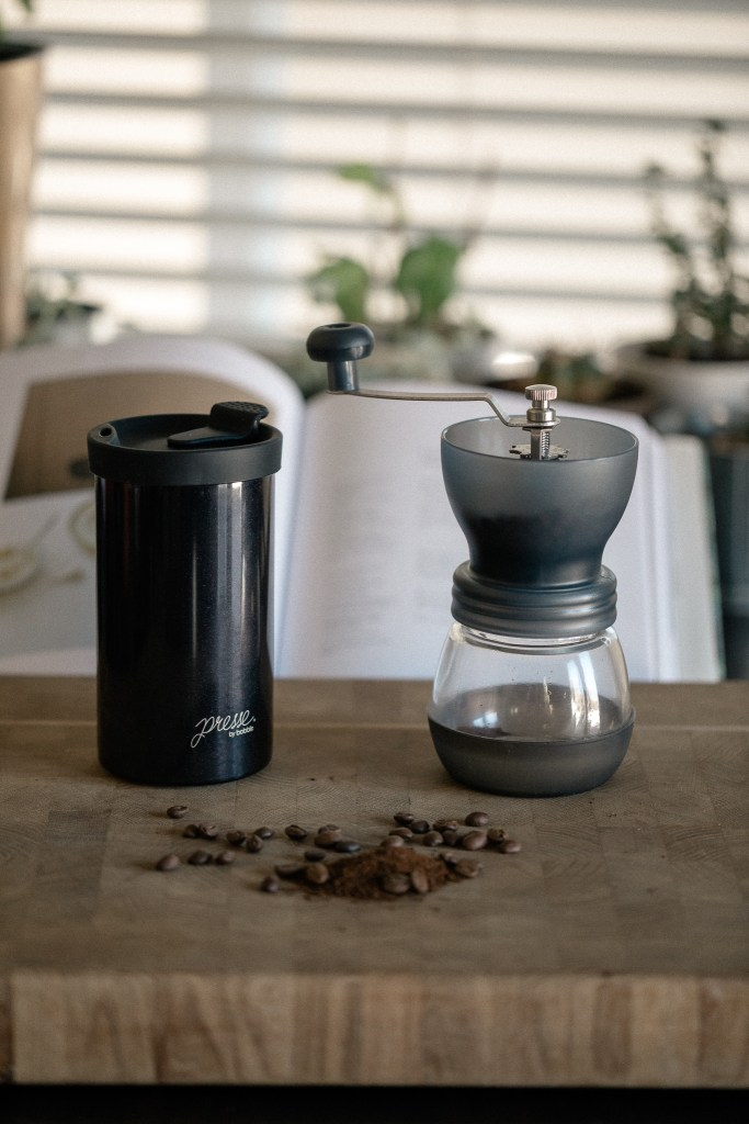 french press grinder and beans