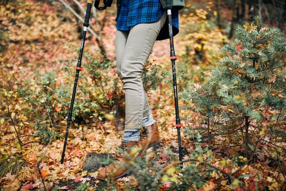 girl walking with cascade mountain tech hiking poles