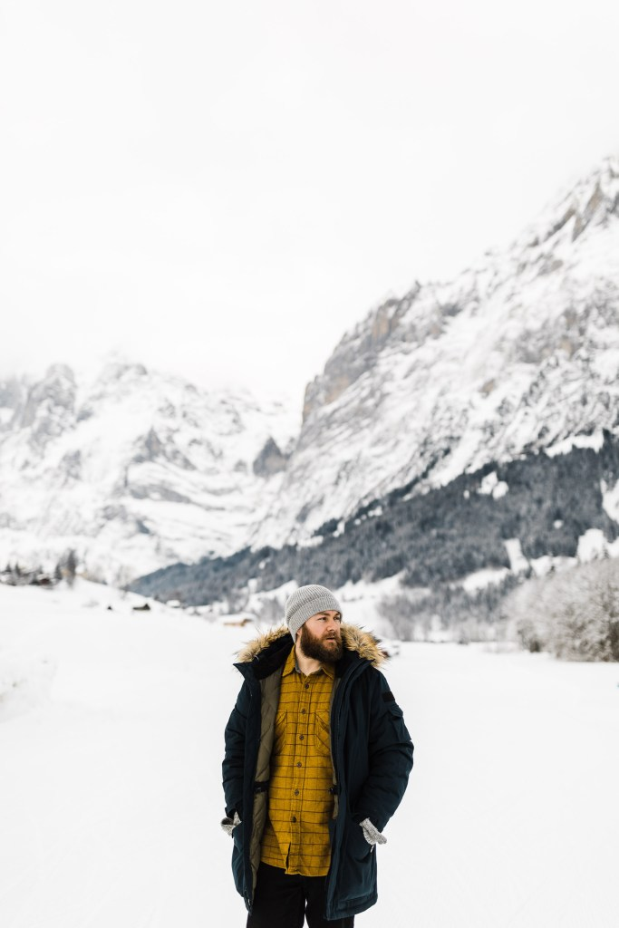 in Switzerland wearing the JCrew Nordic Down Parka