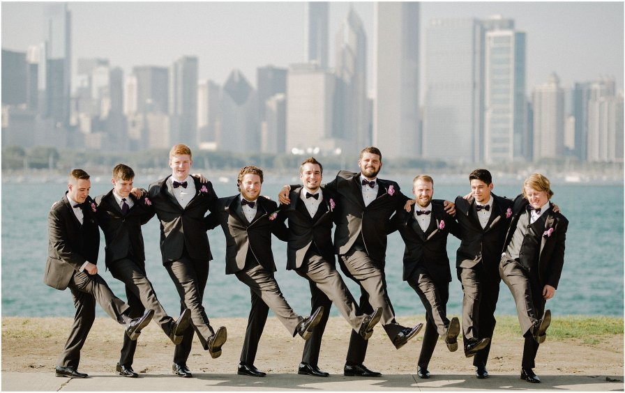 Groomsmen Lakefront Chicago Illinois Wedding Engagement Photographer