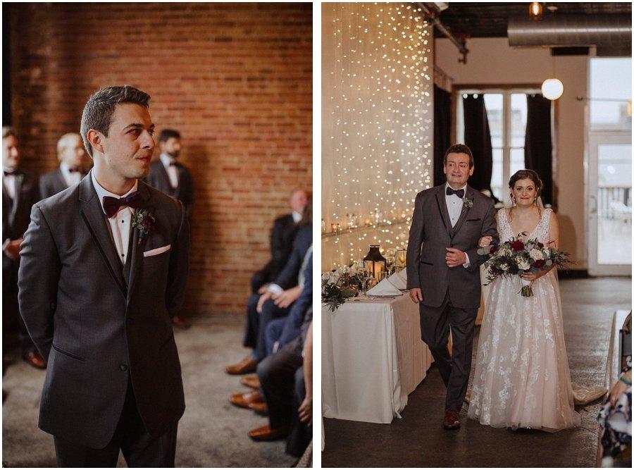 groom watching as the bride walks down the aisle