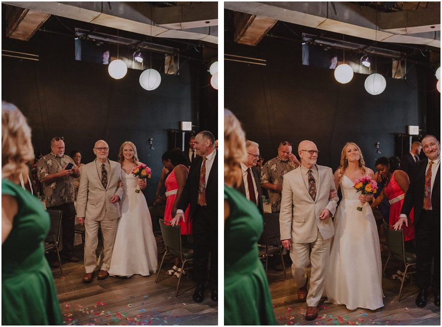 Intimate Filament Theater Chicago Wedding Bride Walking In