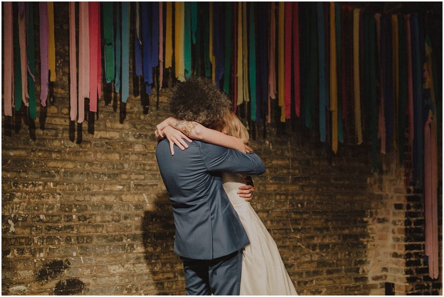 Intimate Filament Theater Chicago Wedding first kiss