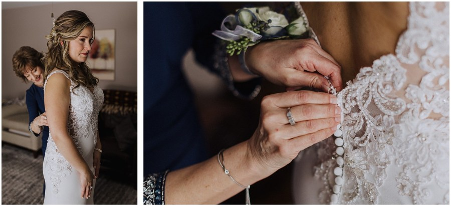 mother helping bride into wedding dress Chicago wedding and elopement photographer Kyle Szeto