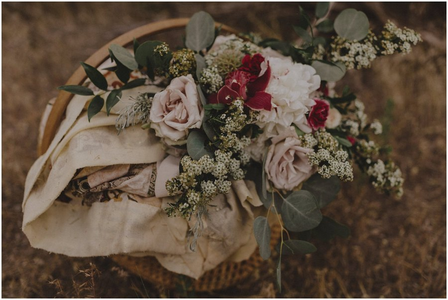 Wedding bouquet in a basket oregon elopement and wedding photographer kyle szeto